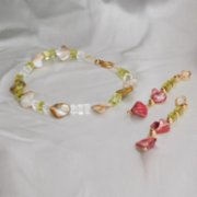 Beril Kın Design  Glass Pearl Necklace and Earring Set
