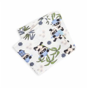 Hipopotam Baby  Blue Pandas Muslin Throw