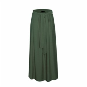 Rivus  Belted Viscose Skirt With Doudle Slits