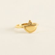 Mi Mujer Atelier  Semicircle Ring With Three Dots