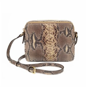 Noula  Snake Print Leather Double Zip Crossbody