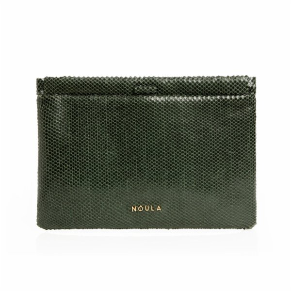 Noula Snake Print Leather Clip Clutch