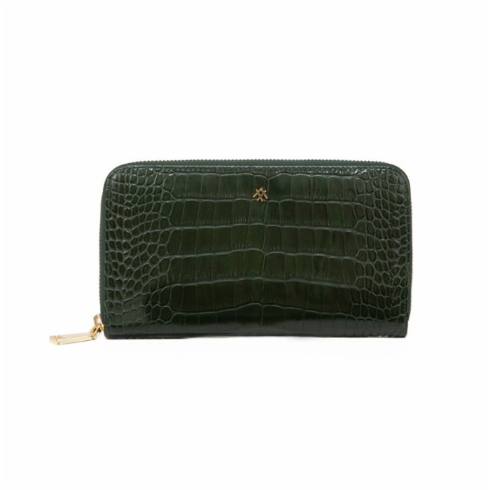 Noula Croc Print Zip Around Leather Wallet Large