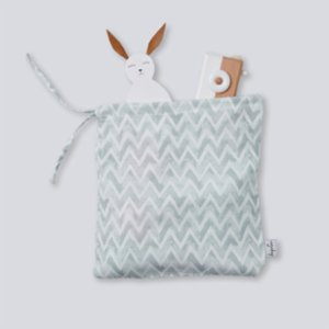 Deeperlove  Muslin Clothes Pouch - Blue ZigZag