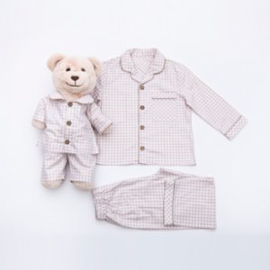 Luna Mia  Just Beige Matching Kid And Teddy Bear Pyjama Set