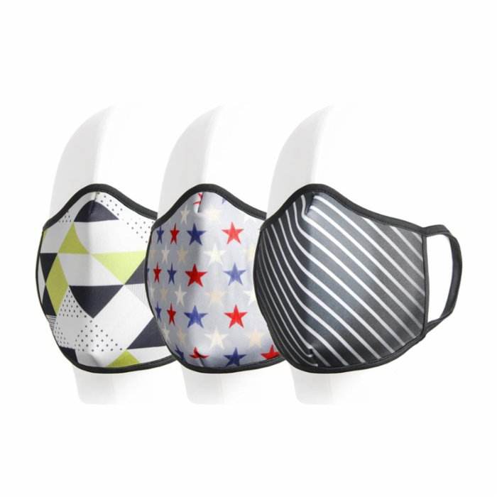 Coho Fashion Triangles & Stars & Lines Washable Antibacterial Face Mask Set of 3