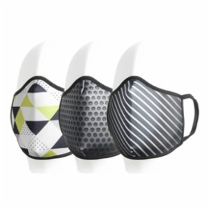 Coho Fashion  Triangles & Carbon & Lines Washable Antibacterial Face Mask Set of 3