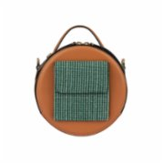 Baa  Lotte Brown Leather With Green Fabric