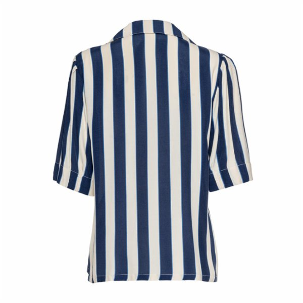 Simple Favor Short Pleated Sleeve Striped Shirt