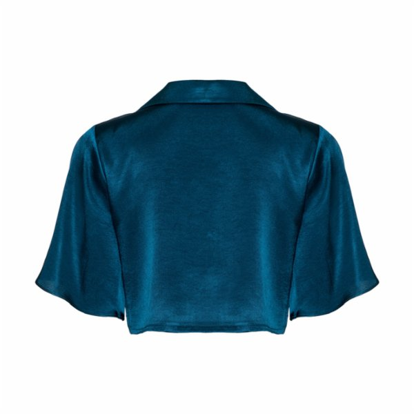 Simple Favor Flared Sleeve Cropped Shirt