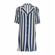 Simple Favor  Pleated Sleeve Striped Shirt Dress
