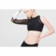 Ryder Act One Sleeve Long Tulle Detail Crop Top