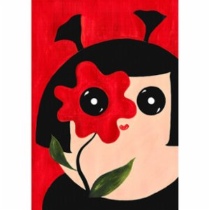 Yamisi	  Mimi Red Flower Poster