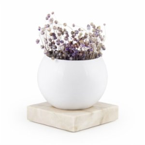 Coho Objet	  Earth Flower Pot with Fossile Carre Marble