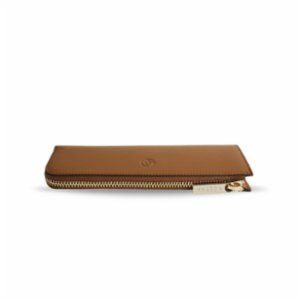 Bustha  Earth/C 'Zip' Flat Leather Pencil Case - Saddle