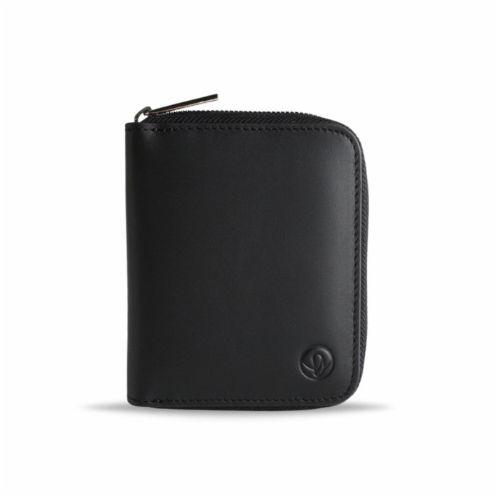 Bustha Earth/C 'Zip' S Leather Card Holder - Noir