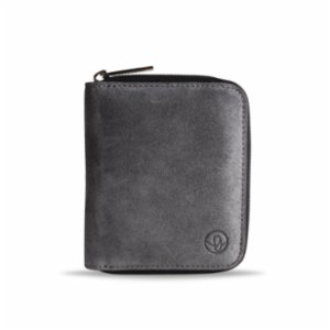 Bustha  Earth/C 'Zip' S Suede Card Holder - 'Concrete - Noir