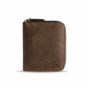 Bustha  Earth/C 'Zip' S Crazy Horse Leather Card Holder - 'Rusty - Mocha'