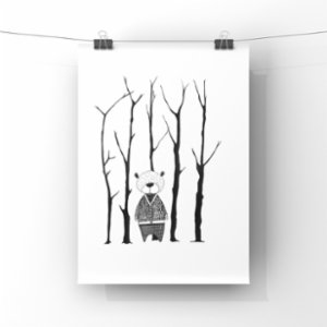 paperwork.istanbul	  Bear In The Woods Art Print