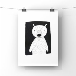 paperwork.istanbul	  Bear at Night Art Print