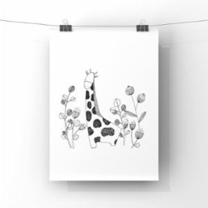 paperwork.istanbul	  Giraffe In The Forest Art Print