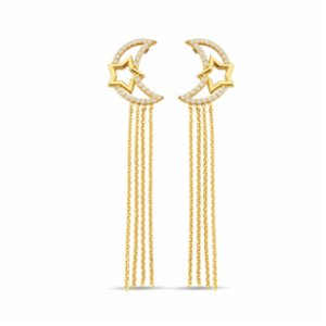 Larissa Jewellery  Moon With Chain Gold Earring