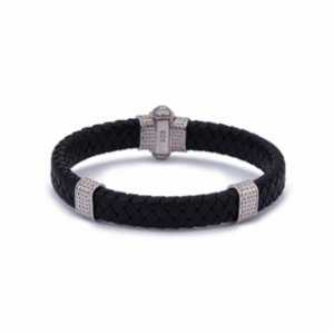 Atolyewolf  Silver Thick Leather Bracelet